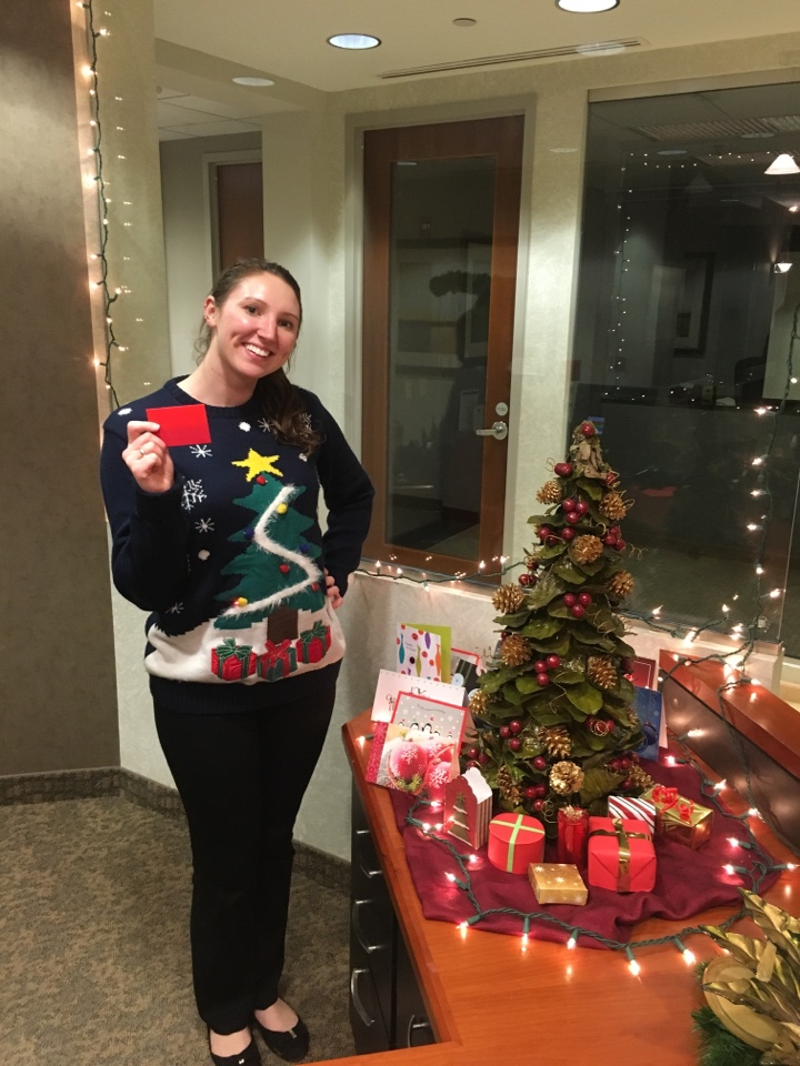 McLean, VA - Congratulations to Meghan Joyce, winner of our ugly sweater contest!