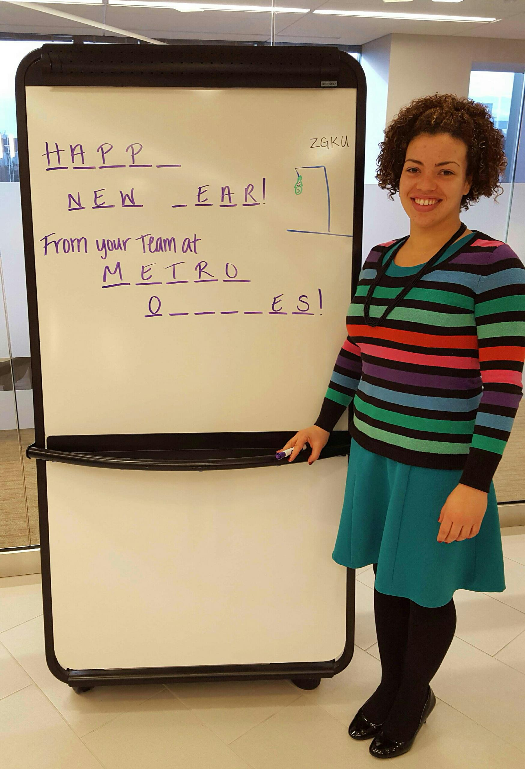 Herndon, VA - Happy New Year from your community at Metro Offices Herndon, Virginia!  We borrowed the complimentary white board from our Sunrise Meeting Space for a quick game!  Love to keep the community spirit!