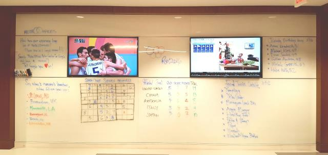 Washington, DC - Every one was hard at work at their Metro Center office space when this pic was taken.  But the white board shows a lot going on...#Olympics, #Sudoku, #food truck list and more.