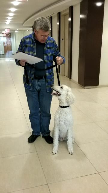 Today Mr. Boone brought his pet human Eric Casey to check the mail for National Onsite WasteWater Recycling Association! Coworking at Metro Offices in Arlington is anything but RUFF when you have a professional mailing address and a loyal companion like Eric.