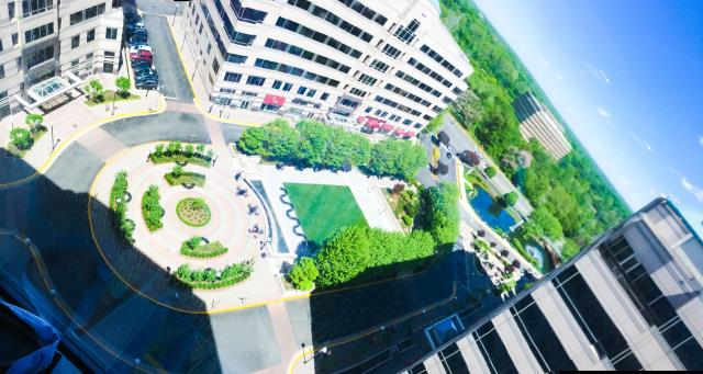 What a spectacular aerial view from our tower here in Reston's Plaza America! Come take a break and enjoy the beautiful spring weather in the newly remodeled court yard. Metro Offices offers 9 different outstanding views in the Metropolitan area!