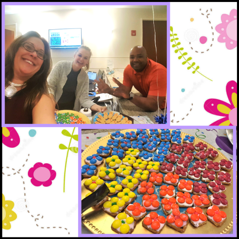 Throw back to our mid-day snack break at our Reston, VA Office! We  enjoyed candy flowers and Nutter-Butter flip-flops to celebrate the beautiful weather.  We love that our coworking space allows so many to come together as a community.