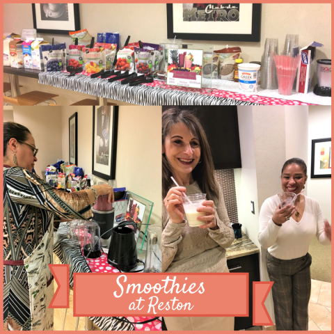 Metro Offices, Reston Center members enjoying morning smoothies!  We love providing much-needed breaks for our members and work to keep their office space running smoothly :).