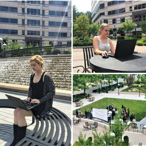 Metro Offices, Reston Center members enjoying the perks of their office space that comes complete with a beautiful courtyard. Members can work outside in the fresh air with the provided free Wi-Fi.