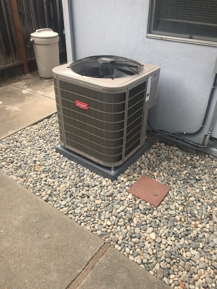 Mountain View, CA - Wanted to add air condition to existing Furnace System. Complete installation of Bryant 127A 3Ton Air Conditioning Unit.