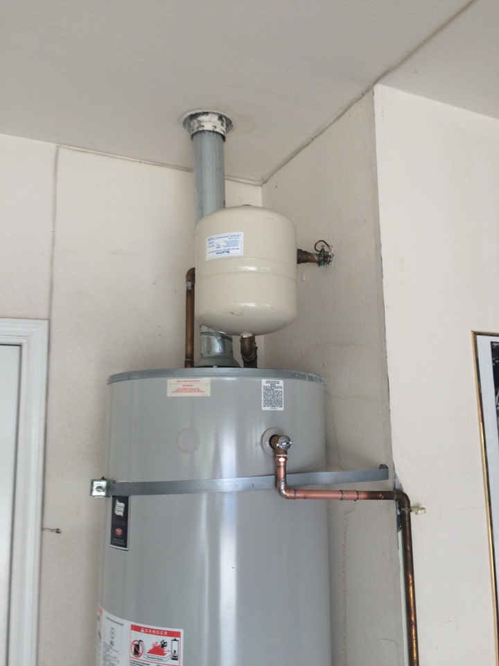 Rancho Cucamonga, CA - In Rancho Cucamonga installing a water heater expansion tank