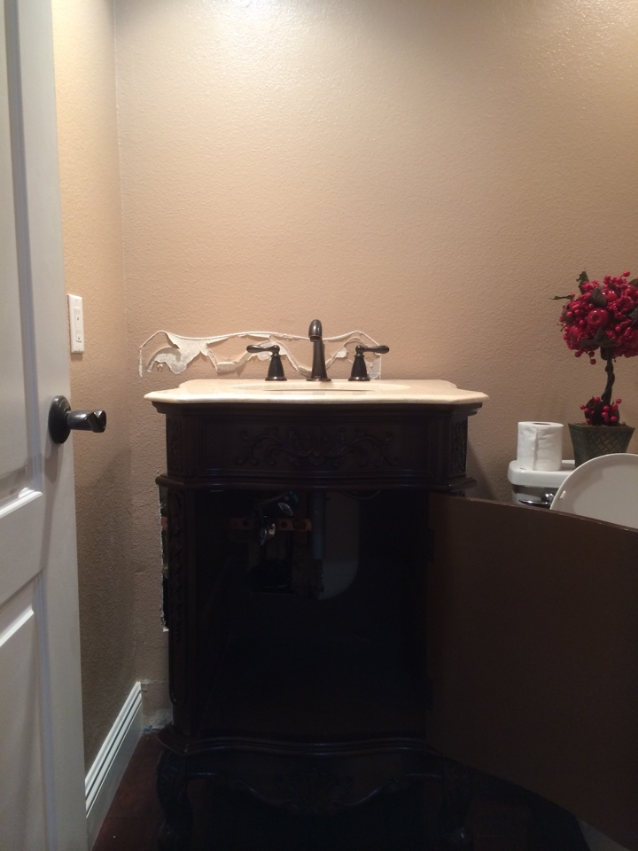 Chino Hills, CA - Changing the location of a bathroom vanity some times requires the moving of drain lines and shut off valves.