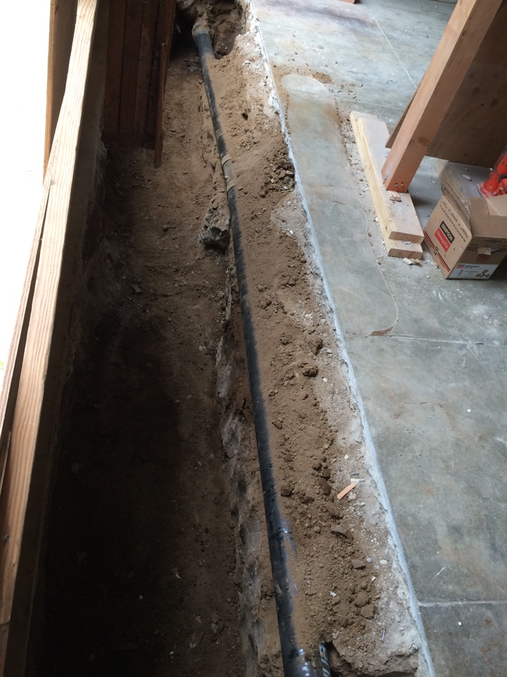 """San Marino, CA - Removed and replaced approximately 20' of 4"""" cast iron sewer line under garage floor in San Marino"""