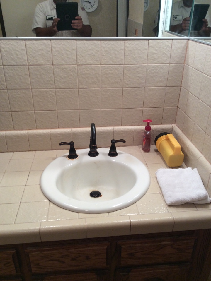 Monrovia, CA - Installed new wide spread faucet in master bath with pop up and trap.