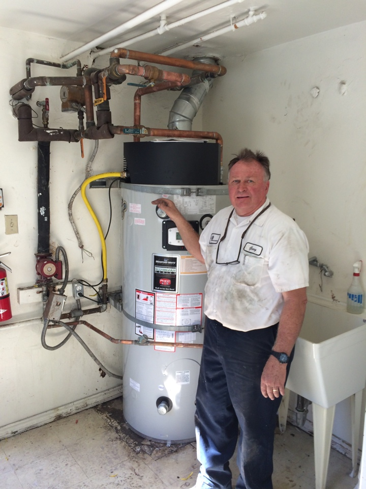 Monterey Park, CA - Installing a Bradford White 100 gallon commercial water heater at apartment buildings in Monterrey Park