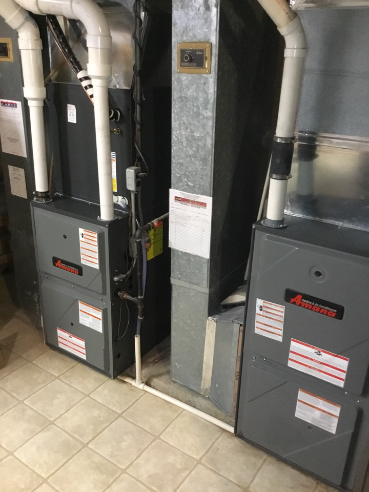 Bloomington, IL - Furnace inspection and warranty draft inducer replacement on these Amana furnaces.