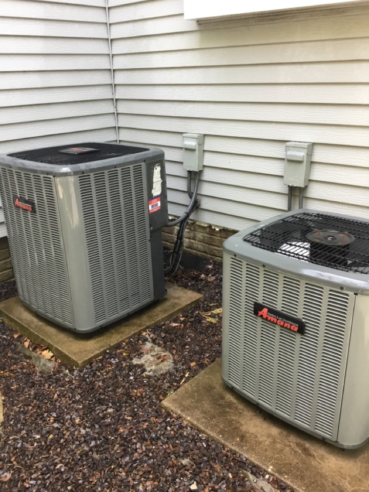 Bloomington, IL - Seasonal maintenance on these two Amana AC's to make sure they are running properly and efficiently before warmer weather arrives.