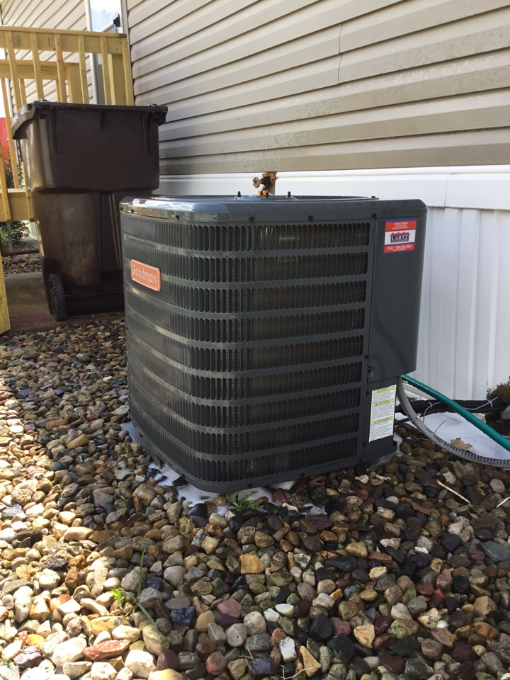 Seasonal maintenance on this Goodman AC, to make sure it's ready for summer.