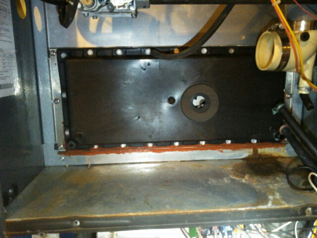Le Roy, IL - REPLACED RECOUP COVER PLATE ON AN AMANA DISTINCTIONS 90% FURNACE TO PREVENT FURTHER WATER DAMAGE TO THE FURNACE.