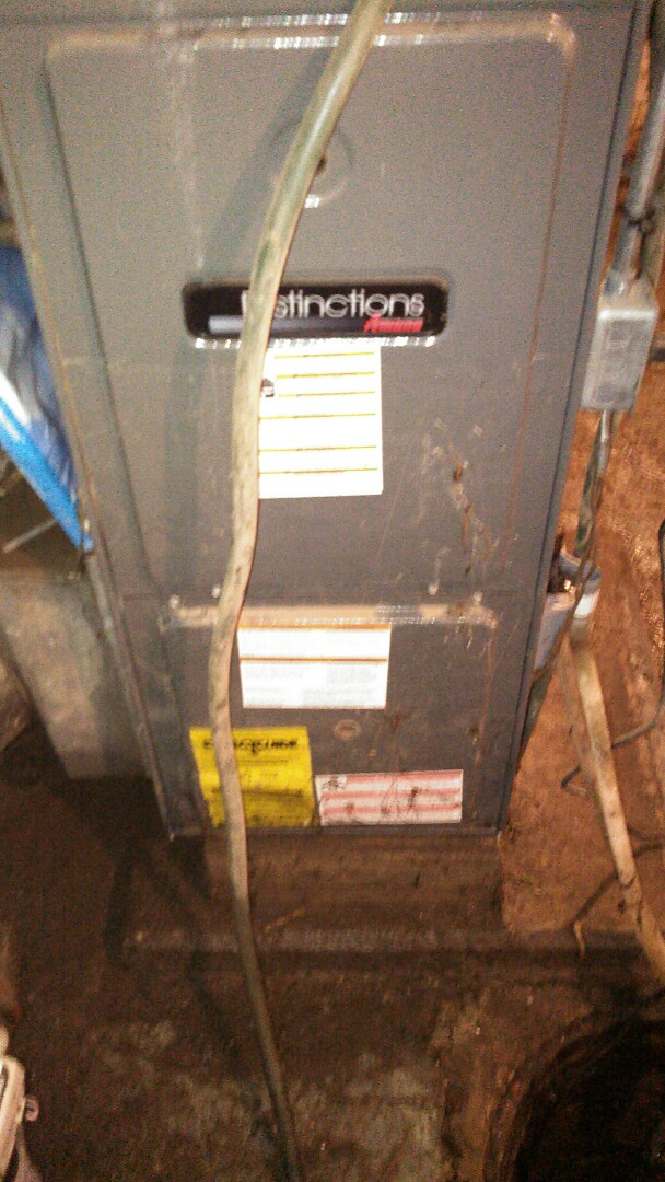 Towanda, IL - NO COOL SERVICE CALL.  BASEMENT FLOODED, OVER FOUR FEET OF WATER.  TOOK OUT CIRCUIT BOARD ON AMANA FURNACE.
