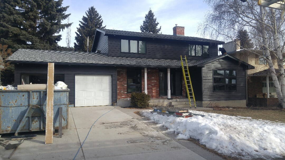 Calgary, AB - Blackwater Hardie Plank, NT3 Smooth Hardie Trim, Black North Star Fusion Windows.  New Black Portatec Door