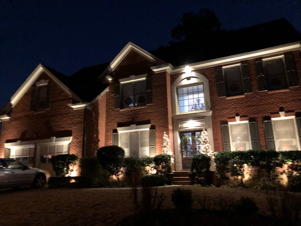 Kennesaw, GA - Illuminating home with outdoor landscape lighting.