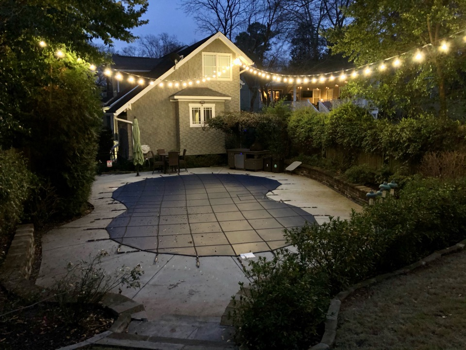 Atlanta, GA - Installing festoon, string lights, bistro lights