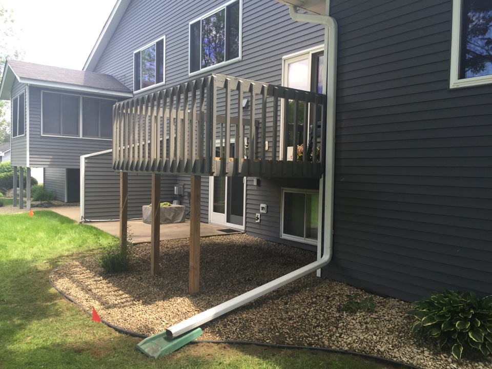Brooklyn Park, MN - Replaced footings and 4x4 rotten posts on a deck to give the home owner a peaceful, worry, free summer.