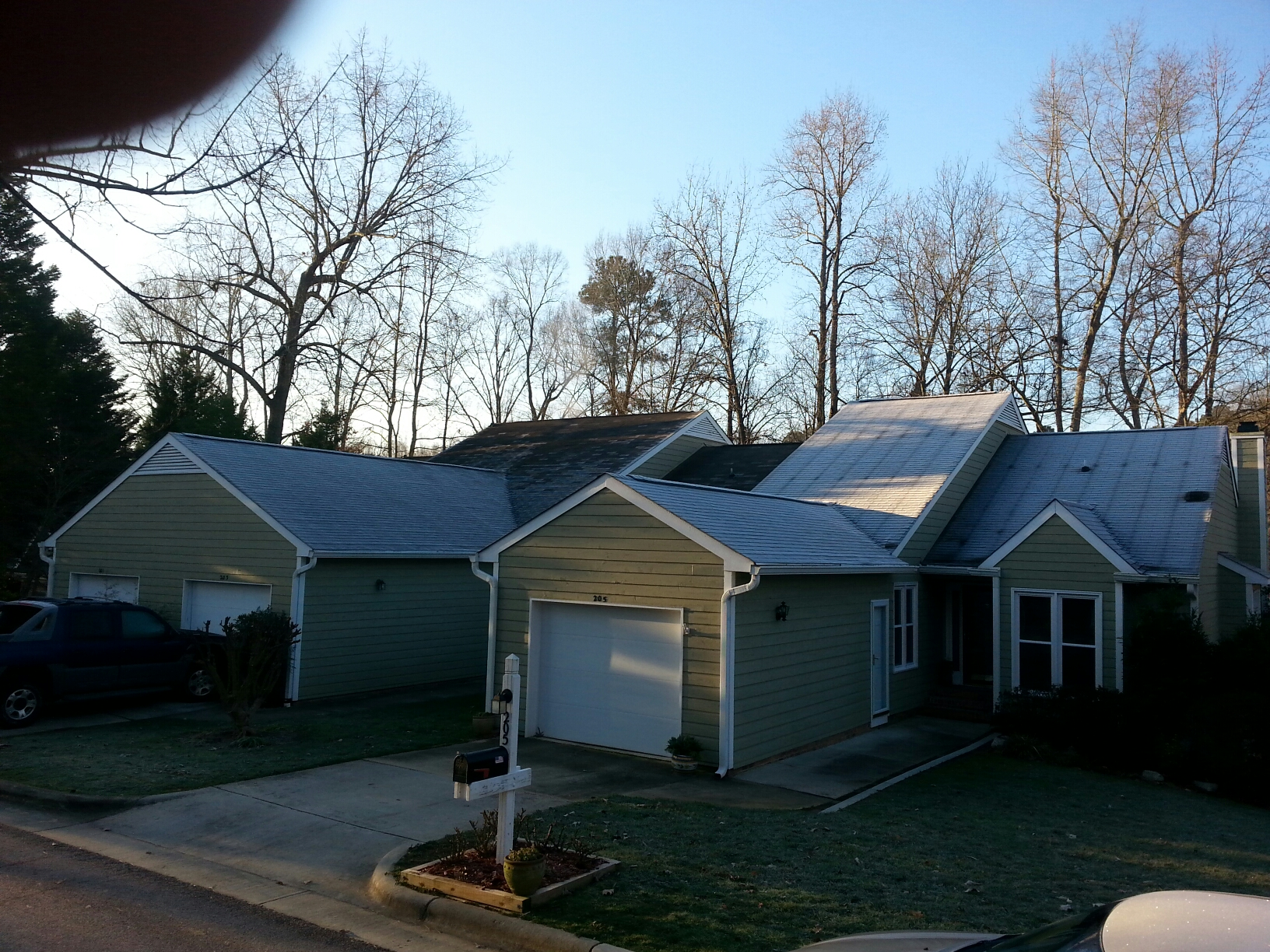 """Cary, NC - Start Chimney Rise roof project....75 sqs of Certainteed Landmark Lifetime Warranty Roof. ...Weather Wood architectural shingle w/new 6"""" SEAMLESS GUTTERS.  By Spilman inc. , the Fastest growing roofing contractor in The Southeast."""