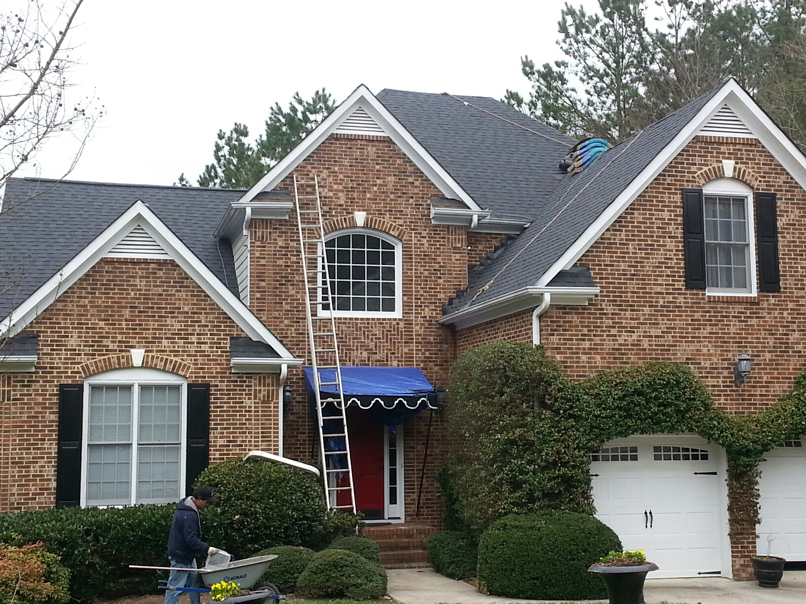 Durham, NC - New roof w/siding & trim in vulnerable areas replaced with PVC.....lifetime warranty on roof AND PVC trim!! Spilman does it again.  This beautiful home in Durham blazes the trail for many other neighbors to follow as their roofs need replacing.