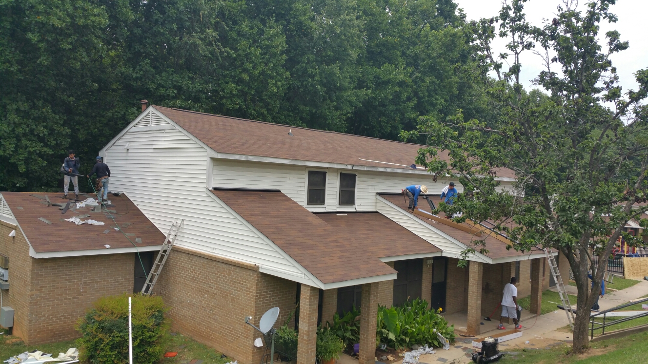 3 buildings complete. 9 to go!! Monroe Housing Authority project, ARC Contracting & Spilman,inc. Roofing Pros join forces to tackle 640sqs of roofing in Monroe, NC.