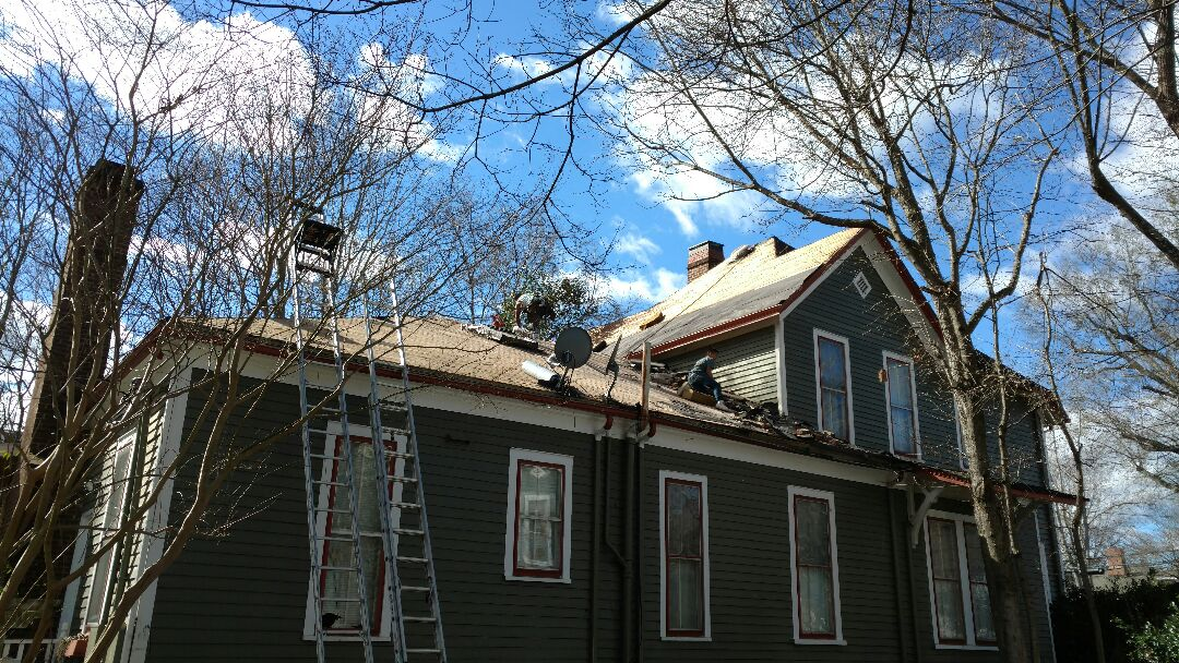 Wake Forest, NC - A quality roof replacement depends A Lot on thorough PREPARATION of substrate/roof sheathing.....Here Spilman & crew are inspecting and replacing areas of concern, rotten, cracked or warped decking, to secure a Fantastic finish!!