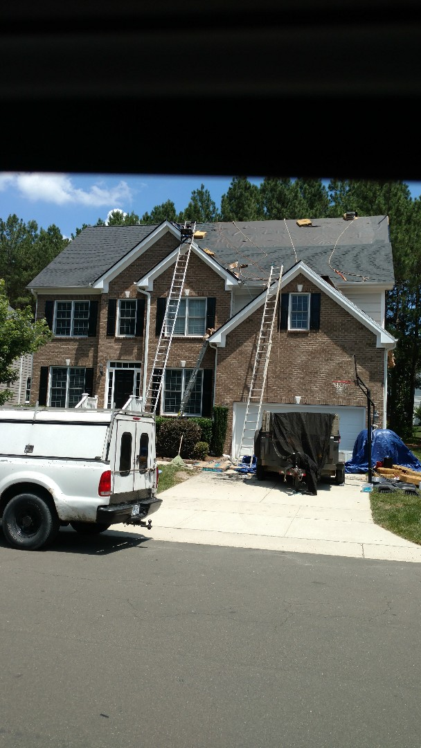 Wake Forest, NC - Spilman and crew replacing this roof for a family moving out of state; giving New homeowners a Lifetime Warranty, WOW!! Call or click today...(919)510-0280 www.spilmaninc.com Roof replacement, siding repairs & Replacement, painting, etc...