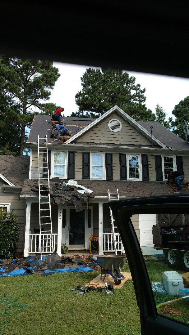 Starting a roof replacement; It is important to replace All sheathing that is damaged or warped....re-attach/fasten is also vital for a Superb finished product. All these steps are one reason Spilman,inc. Roofing PROS had surpassed customers expectations for decades now, in the Wake county and surrounding area. Please, Call or click Today...(919)510-0280 www.spilmaninc.com