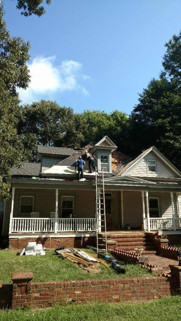 Spilman,inc. Roofing PROS in historic Youngsville, downtown home, built in Civil War era....WOW! What a Fantastic project to be Awarded!! This stage is Very important, replacing ALL Substrate with 0SB. And Installing weatherguard Ice & Water shield in all valleys, to protect the new decking/sheathing from infiltration of wind-driven rains or moisture. Please check back for Final pics; Before, During & After. www.spilmaninc.com (919)510-0280