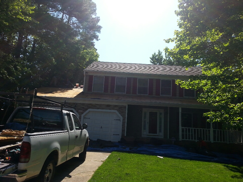 Cary, NC - completing lifetime shingle install, Certainteed Landmark,  weathered wood.  109 Hilary Place in Cary.