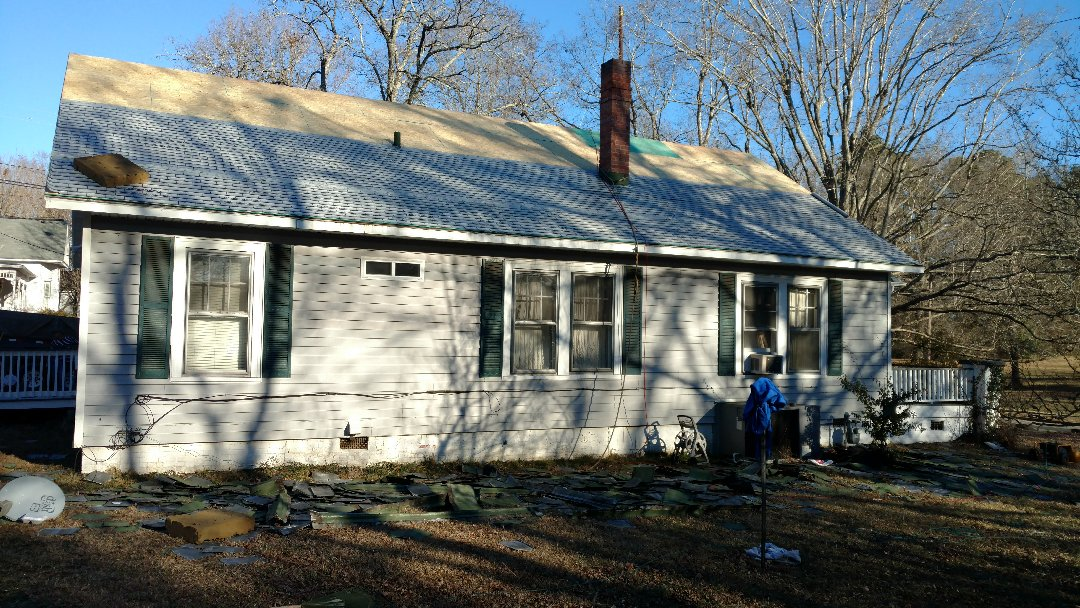 Spilman inc. is re-decking this historic home in Youngsville,NC. Replacing an old dilapidated metal roof w/Lifetime Warranty Architectural shingle from GAF TIMBERLINE in Shakewood...We r using All new OSB, synthetic underlayment, aluminum drip edge, ice & water shield in valleys and chimneys. Installing new continuous ridge ventilation. Call 0r click Today (919)510-0280 www.spilmaninc.com