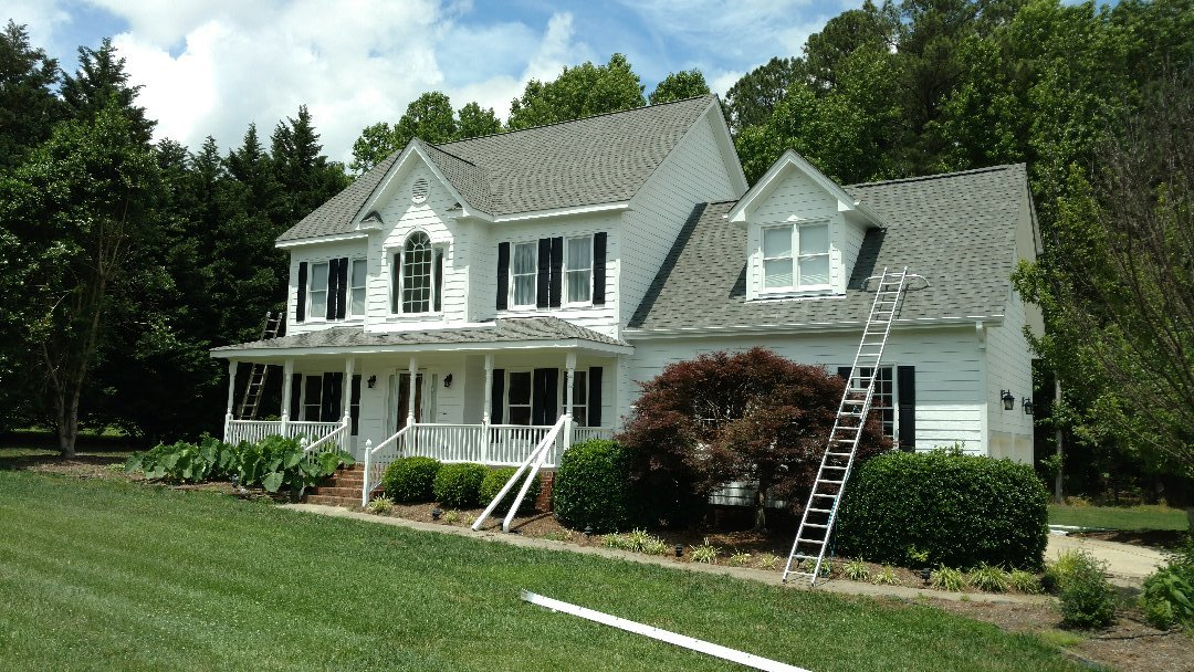 Finishing up , new seamless gutters are the Final stage of this home improvement project!! New Certainteed Landmark lifetime roof, New Hardi-plank siding and paint, and now seamless gutters w/jumbo downspouts!! Call or click Today...(919)510-0280 www.spilmaninc.com