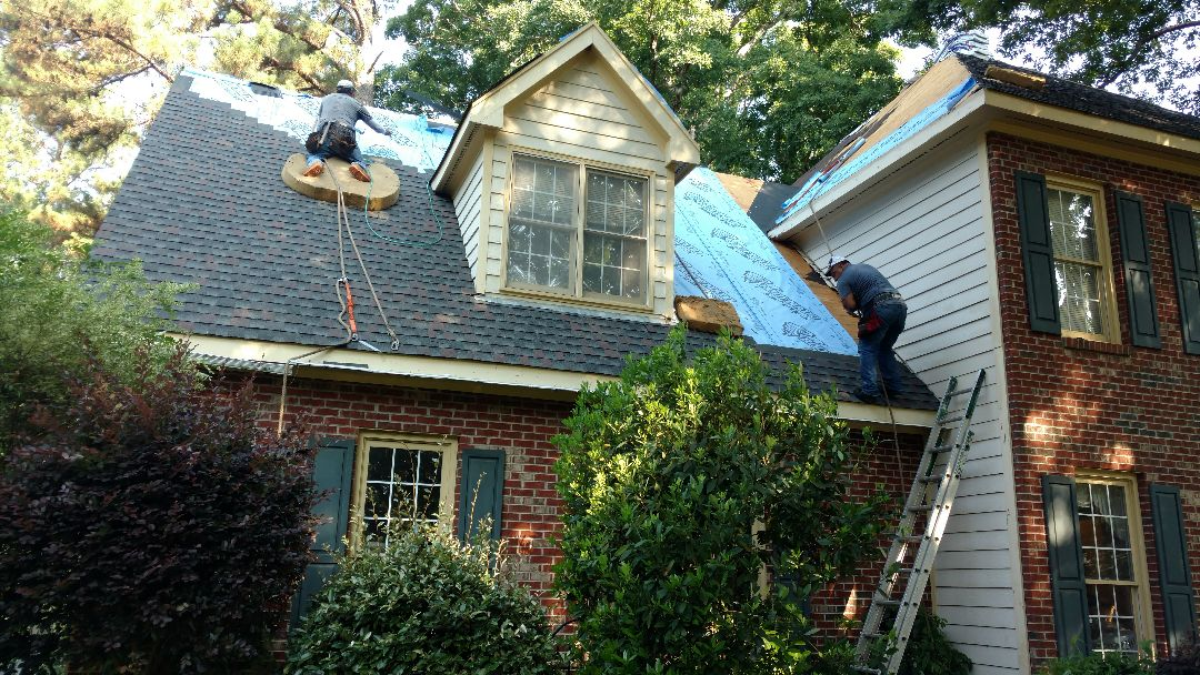 Work in progress... Spilman,inc. replacing a 20+. Year old Horizon(problematic) shingle roof, with a Lifetime warranty GAF Timberline HD shingle in Williamsburg Slate!! Right here in N.Raleigh, NC. Roofing, Siding-Hardiplank and vinyl, Painting, and Custom decks & Screen porches. Call us for your FREE Estimate Today!  (919)510-0280. www.spilmaninc.com