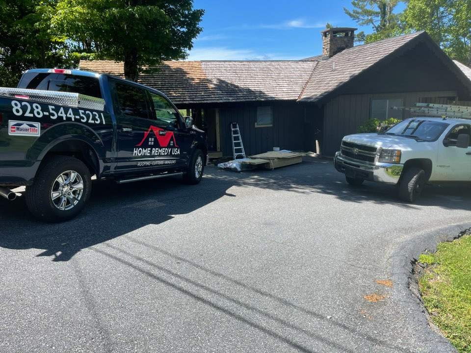 """Boone, NC - New 6"""" Seamless Gutters and Leaf Slugger Micro Mesh for this remodel in Hounds Ears Boone, NC"""