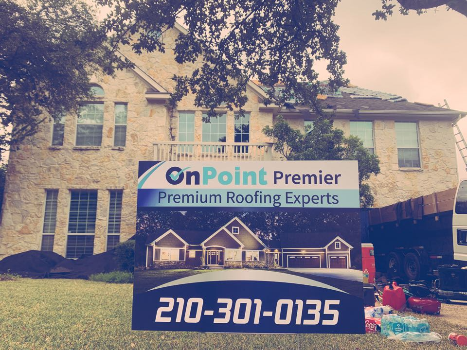 San Antonio, TX - Roof replacement at Big Springs on Evans Rd. Insurance paid to replace the roof due to previous storms in the area. Give OnPoint Premier a call for free inspection. 2103010135