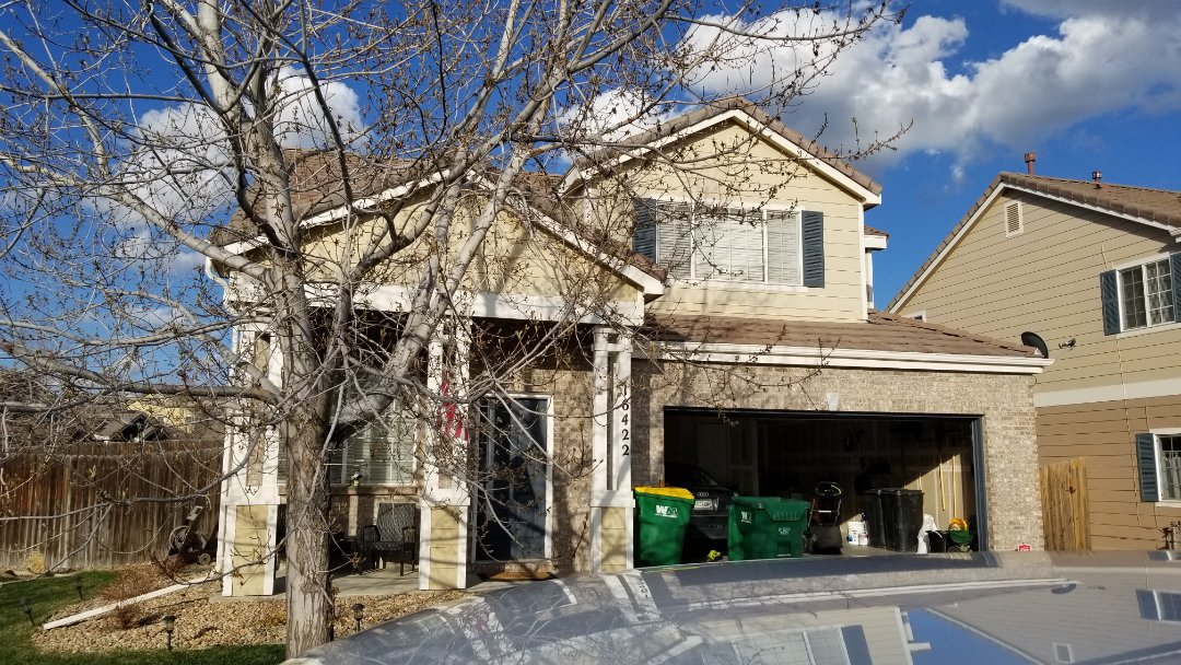 Aurora, CO - We finished up a quick concrete tile roof repair where one of the rake pieces fell off in the last wind.