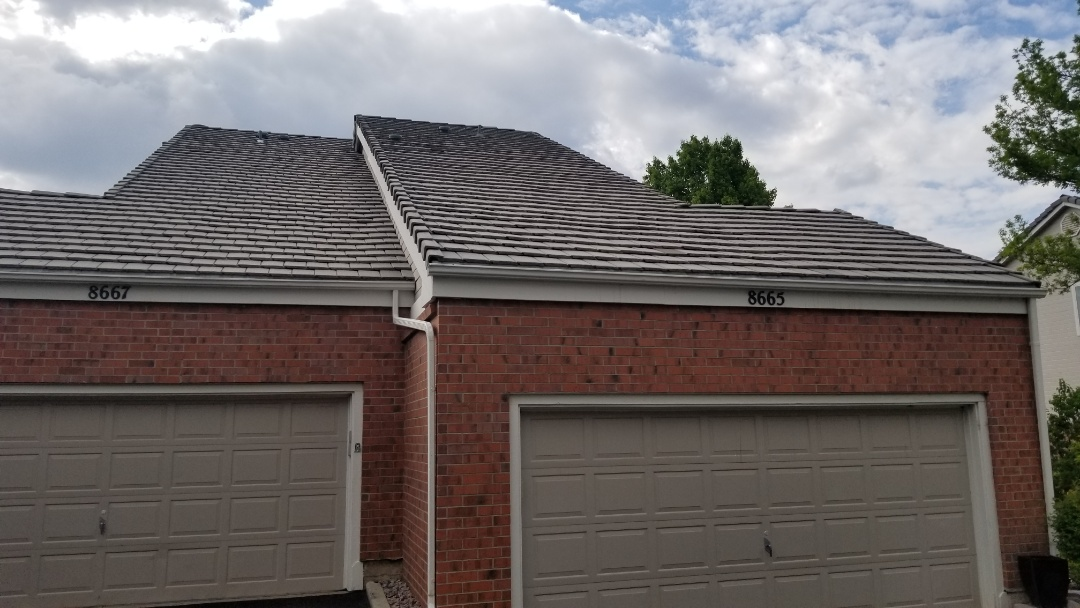 Lone Tree, CO - We finished a concrete tile roof repair in Master's Park. The tile is an old tile that is no longer manufactured so we had to source it at a salvage yard.