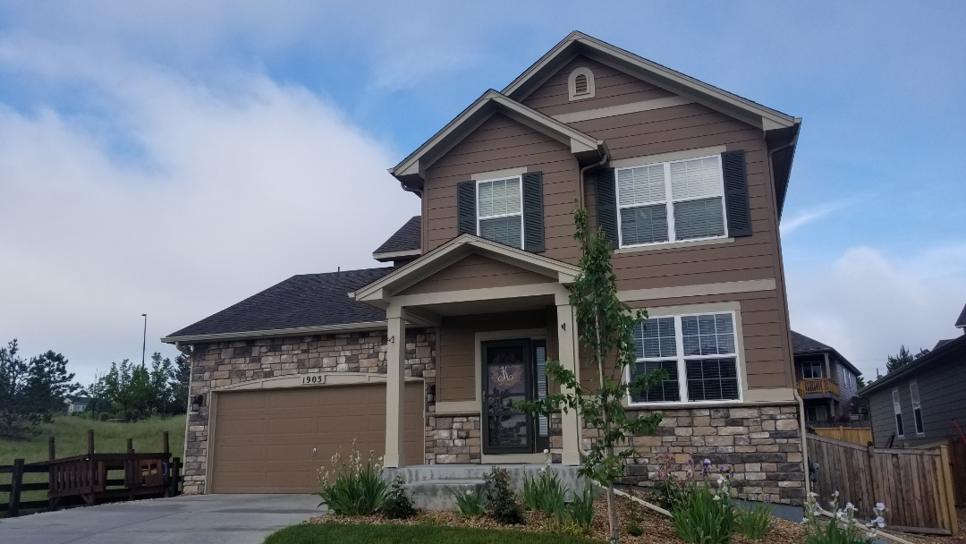 Castle Rock, CO - We are doing a roof inspection for hail damage on this house in Castle Rock after the hail storm a few weeks ago