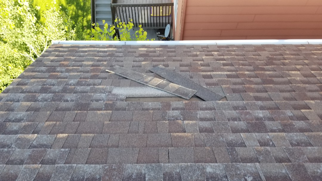 Parker, CO - We are doing a roof inspection for hail damage to this roof near Hess and Jordan road in Parker. The roof has some hail and wind damage and the homeowner is going to call for an inspection from his insurance company