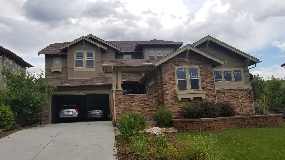 Parker, CO - We inspected this roof and gutters in Parker for hail damage and found that the roof has suffered hail damage from the July 4 storm. We are recommending full roof replacement