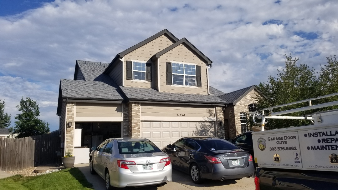 Parker, CO - We have found hail damage to this roof and gutters, downspouts and some paint, hail damage to screens and windows. We will do this roof replacement through an insurance claim