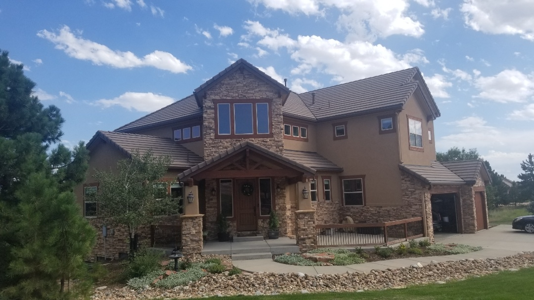 Parker, CO - We are bidding a gutter replacement on this beautiful house in Parker. The gutters were damaged from one of the many hail storms we experienced over the last few months