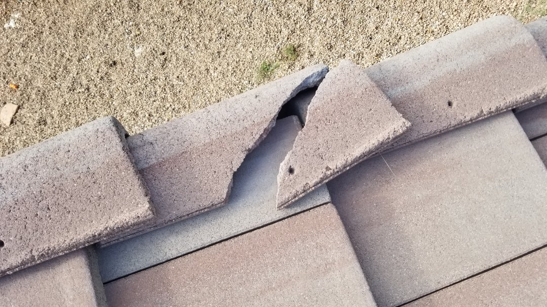 Parker, CO - We are quoting a tile repair for westile concrete roof tiles that are no longer produced and will have to be procured through a salvage yard. There is pretty substantial roof damage and many roof tiles will need to be replaced on this roof in Parker
