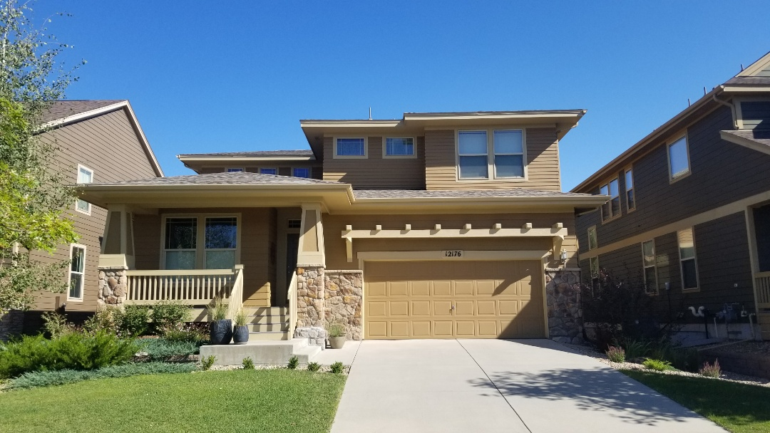 Parker, CO - We are inspecting a roof in Parker for hail damage and found significant roof damage requiring the roof to be replaced as well as new gutters and other hail damage to window screens and some paint.