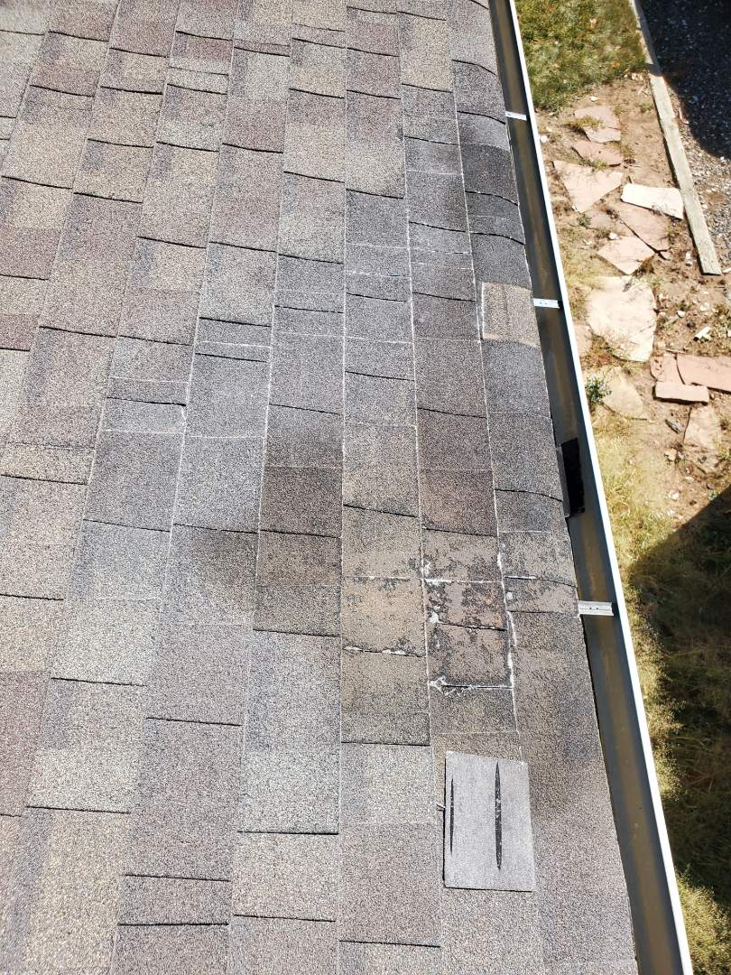 Littleton, CO - We are doing a roof inspection for a roof leak and found the roof to be old and deteriorated with some hail damage. We are recommending full roof replacement due to condition