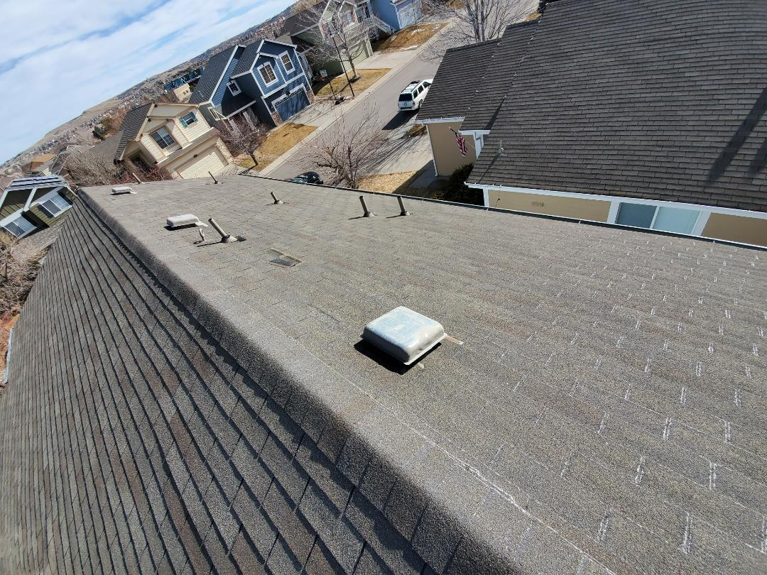 Littleton, CO - We are bidding a full reroof and shingle upgrade for this homeowner in Highlands Ranch due to age and condition of his roof. It has some wind damage and as lived it's average life of about 18-20 years