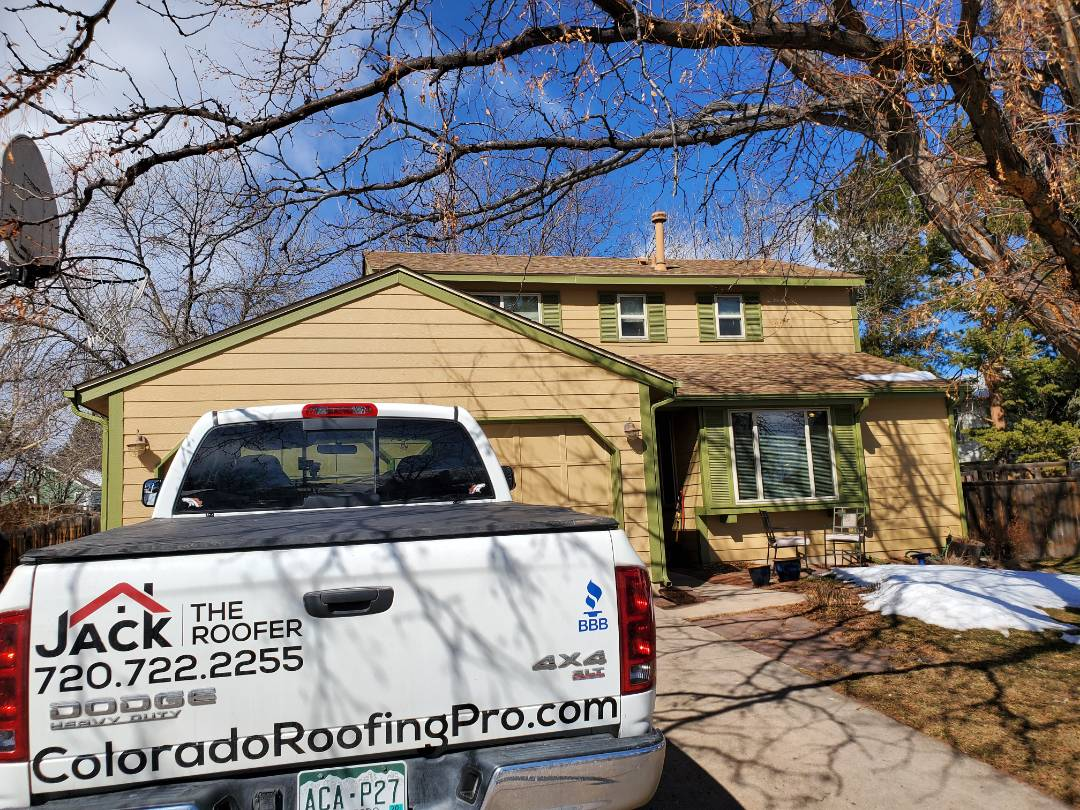 Littleton, CO - We are inspecting a roof and gutters for this house in Littleton. There is some ice damming which was super common this year. We offered gutter cleaning and installation of heat coil. Roof replacement happened in 2012