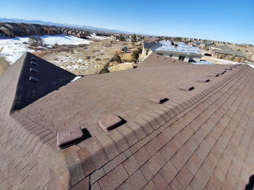 Aurora, CO - We have inspected this roof in Parker Colorado for hail damage. This roof needs full roof replacement as well as all new gutters and downspouts.