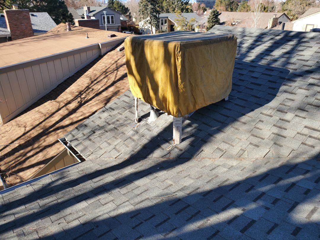 Aurora, CO - We are doing a roof inspection here in Aurora for a roof leak that is happening around the swamp cooler. We will also be bidding a roof replacement since the roof is about 17-20 years old